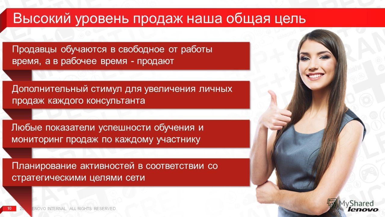 10 Высокий уровень продаж наша общая цель 2013 LENOVO INTERNAL. ALL RIGHTS RESERVED.