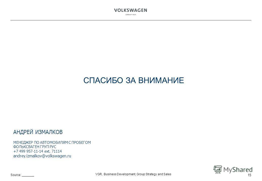 Source: _______ VGR, Business Development, Group Strategy and Sales СПАСИБО ЗА ВНИМАНИЕ АНДРЕЙ ИЗМАЛКОВ МЕНЕДЖЕР ПО АВТОМОБИЛЯМ С ПРОБЕГОМ ФОЛЬКСВАГЕН ГРУП РУС +7 499 957-11-14 ext. 71114 andrey.izmalkov@volkswagen.ru 15