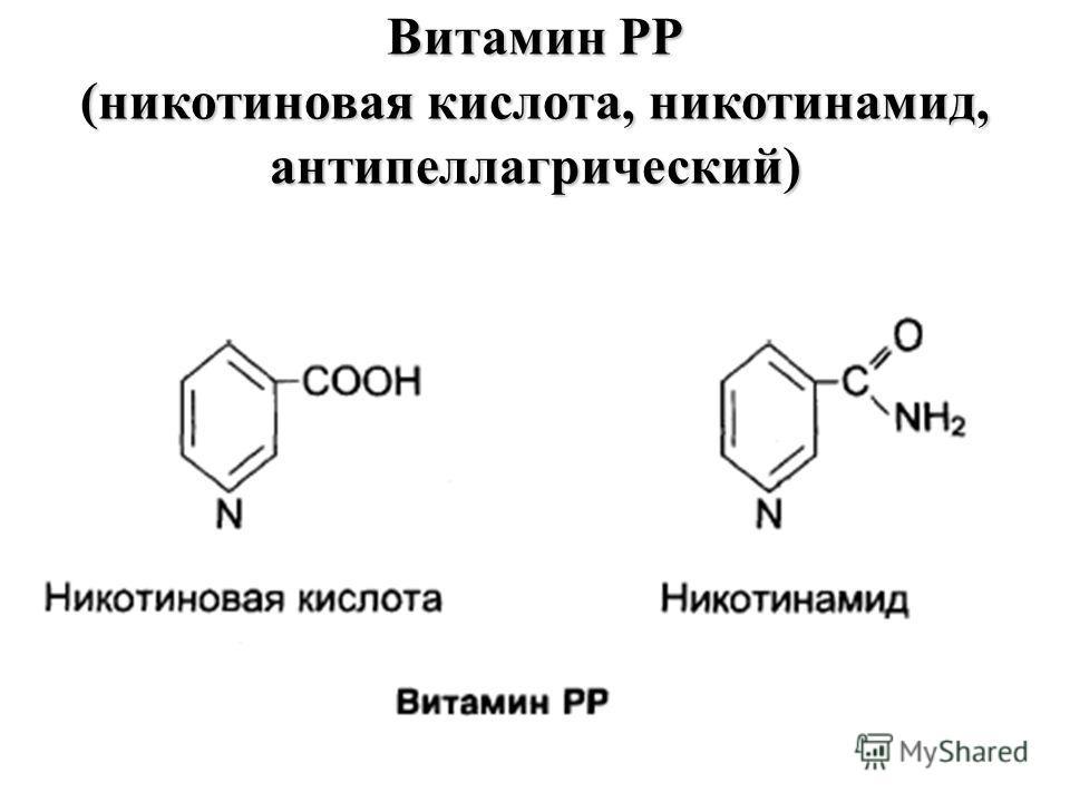 Витамин РР (никотиновая кислота, никотинамид, антипеллагрический)