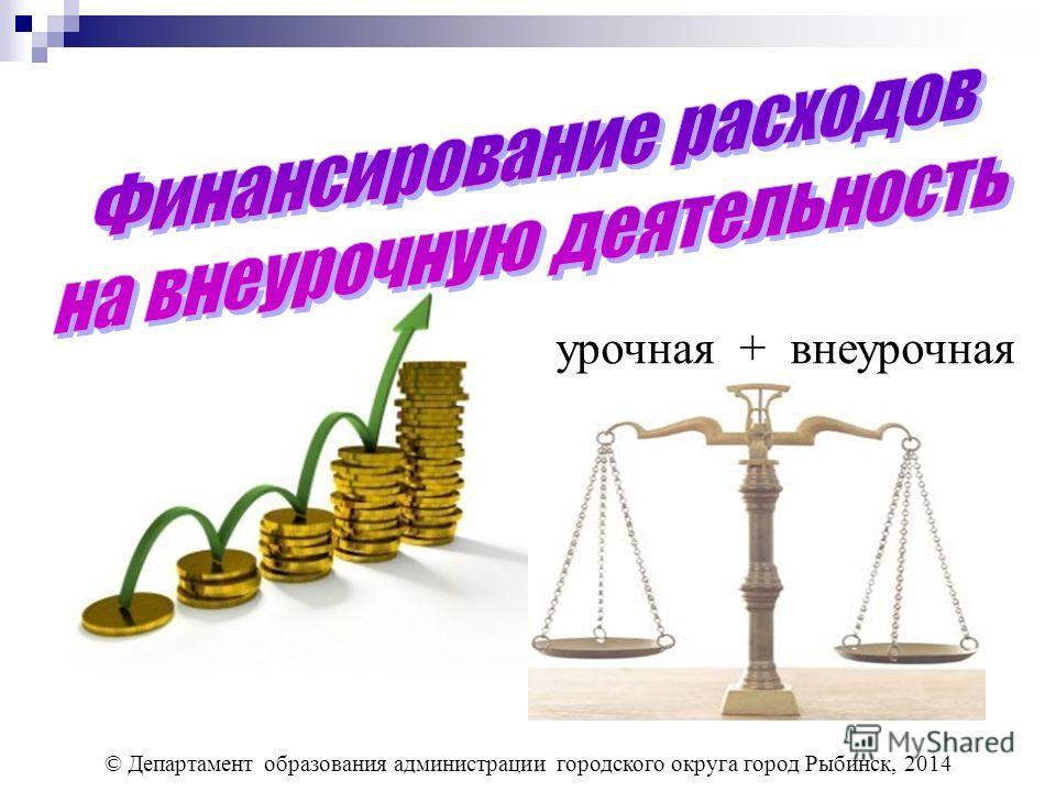 © Департамент образования администрации городского округа город Рыбинск, 2014 урочная + внеурочная