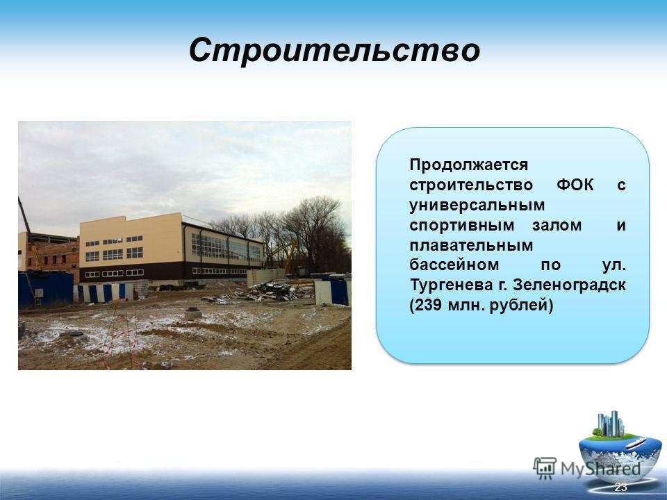 Строительство Продолжается строительство ФОК с универсальным спортивным залом и плавательным бассейном по ул. Тургенева г. Зеленоградск (239 млн. рублей) 23