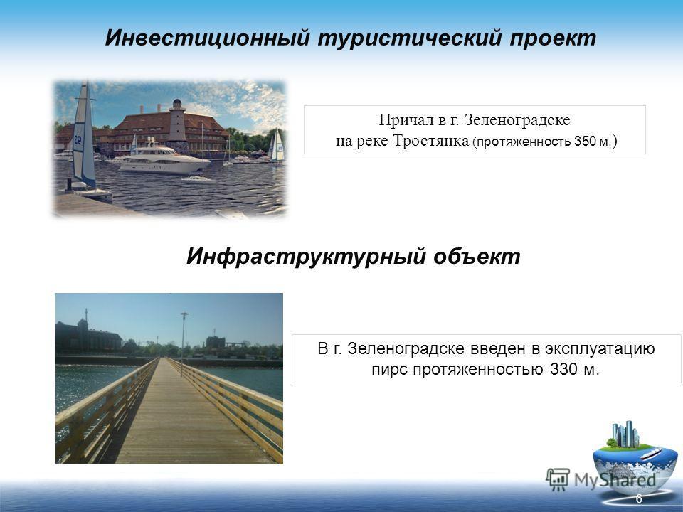 Инвестиционный туристический проект Причал в г. Зеленоградске на реке Тростянка ( протяженность 350 м. ) 6 Инфраструктурный объект В г. Зеленоградске введен в эксплуатацию пирс протяженностью 330 м.