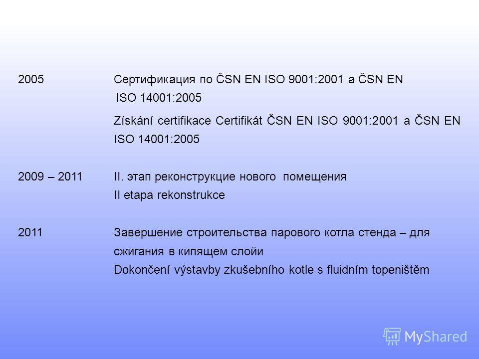 2005Сертификация по ČSN EN ISO 9001:2001 a ČSN EN ISO 14001:2005 Získání certifikace Certifikát ČSN EN ISO 9001:2001 a ČSN EN ISO 14001:2005 2009 – 2011 II. этап реконструкцие нового помещения II etapa rekonstrukce 2011Завершение строительства парово