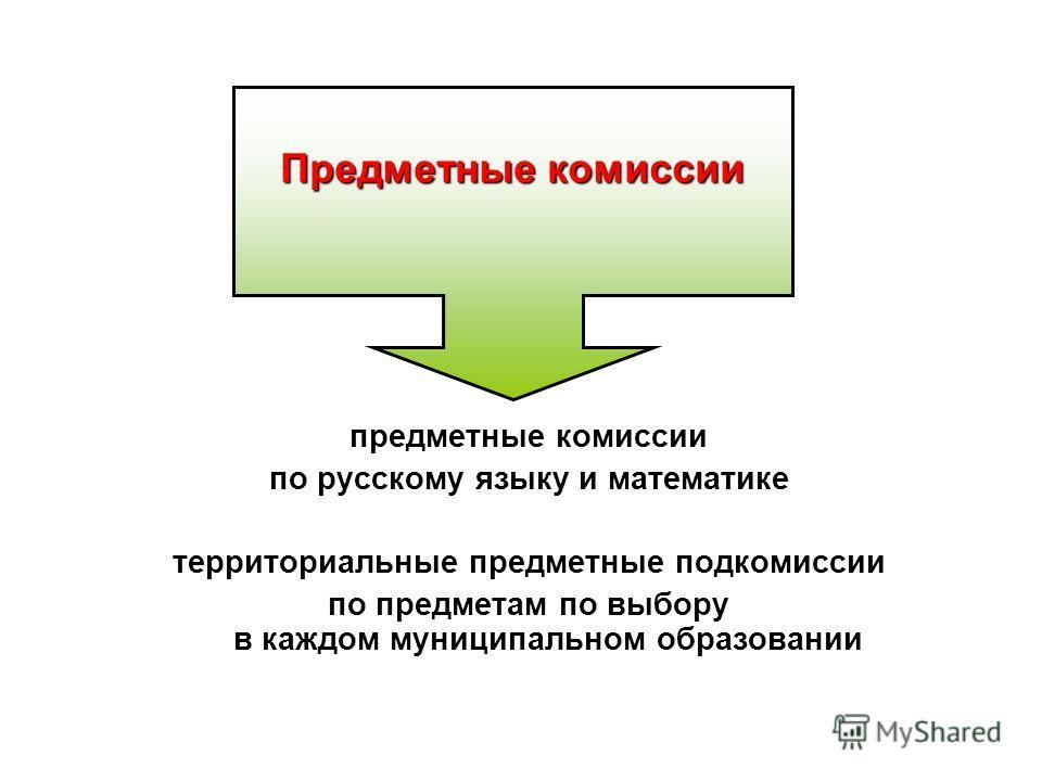 предметные комиссии по русскому языку и математике территориальные предметные подкомиссии по предметам по выбору в каждом муниципальном образовании Предметные комиссии