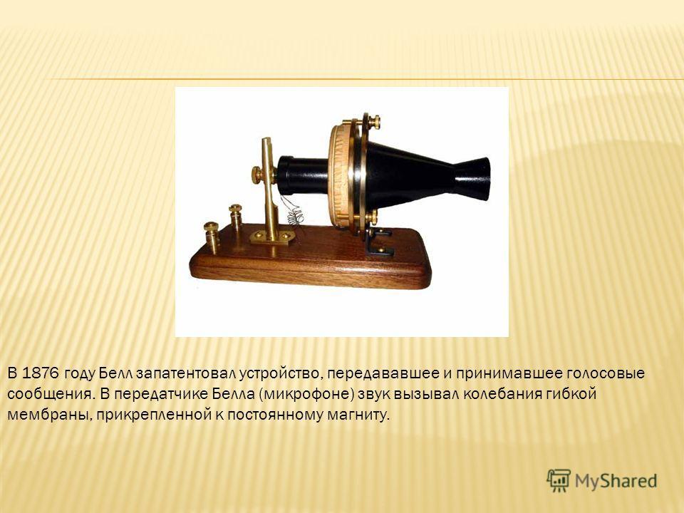 В 1876 году Белл запатентовал устройство, передававшее и принимавшее голосовые сообщения. В передатчике Белла (микрофоне) звук вызывал колебания гибкой мембраны, прикрепленной к постоянному магниту.