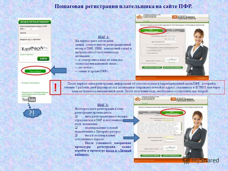 Пошаговая регистрация плательщика на сайте ПФР. ШАГ 1: На первом шаге для подачи заявки следует ввести регистрационный номер в ПФР, ИНН, контактный e-mail и выбрать способ получения кода активации: – «в электронном виде по каналам телекоммуникационно