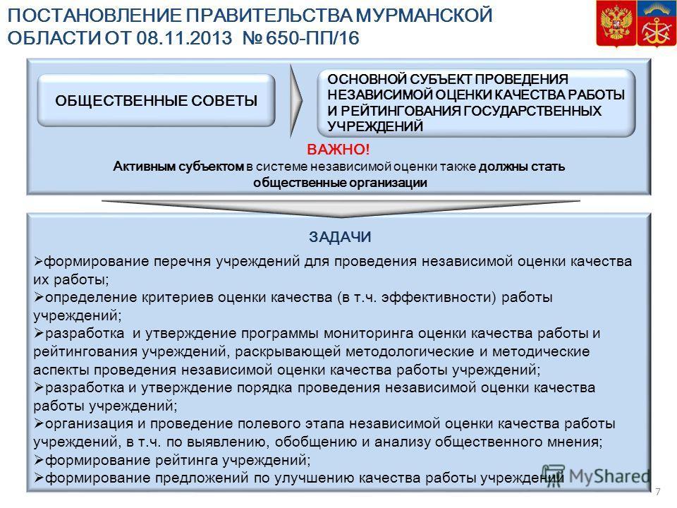 ВАЖНО! Активным субъектом в системе независимой оценки также должны стать общественные организации ПОСТАНОВЛЕНИЕ ПРАВИТЕЛЬСТВА МУРМАНСКОЙ ОБЛАСТИ ОТ 08.11.2013 650-ПП/16 ОСНОВНОЙ СУБЪЕКТ ПРОВЕДЕНИЯ НЕЗАВИСИМОЙ ОЦЕНКИ КАЧЕСТВА РАБОТЫ И РЕЙТИНГОВАНИЯ Г