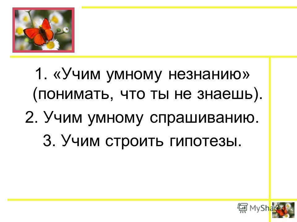 1. «Учим умному незнанию» (понимать, что ты не знаешь). 2. Учим умному спрашиванию. 3. Учим строить гипотезы. 2