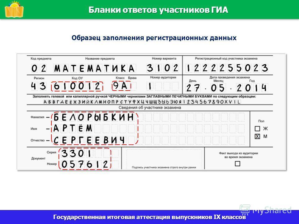Бланки ответов участников ГИА 22 Государственная итоговая аттестация выпускников IX классов Образец заполнения регистрационных данных