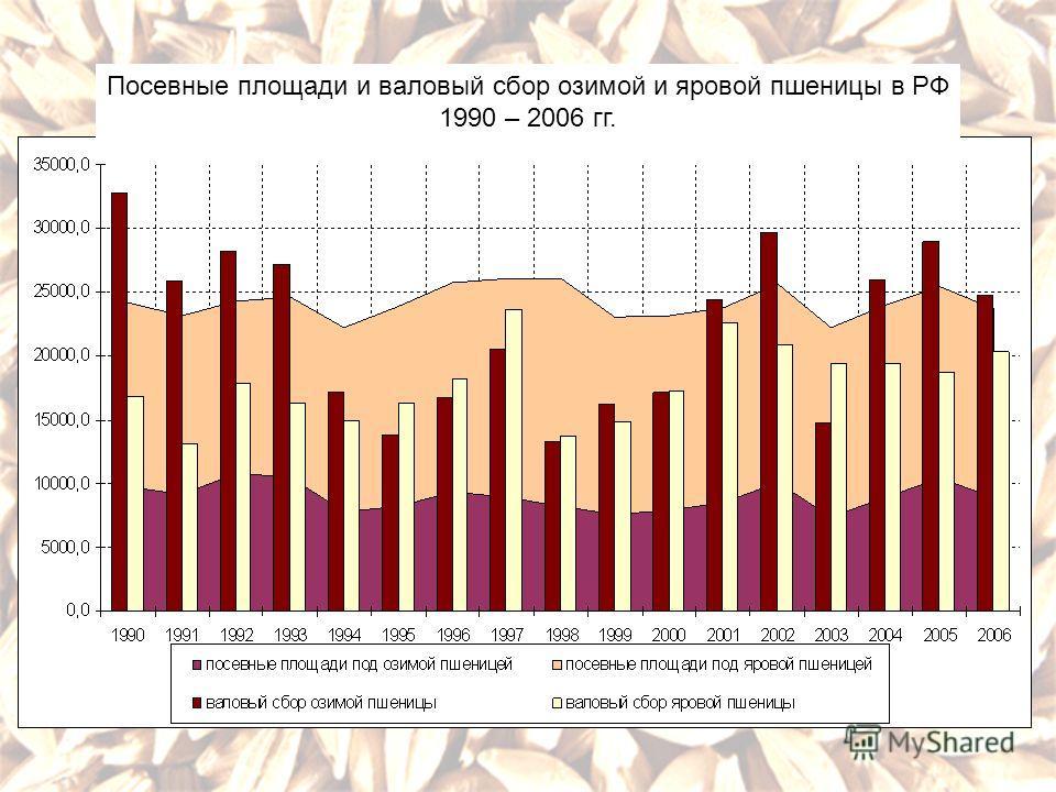 Посевные площади и валовый сбор озимой и яровой пшеницы в РФ 1990 – 2006 гг.