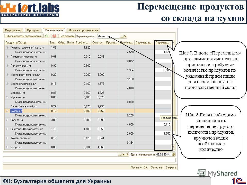 Перемещение продуктов со склада на кухню ФК: Бухгалтерия общепита для Украины Шаг 7. В поле «Перемещаем» программа автоматически проставляет требуемое количество продуктов по указанный прием пищи для перемещения на производственный склад Шаг 8.Если н