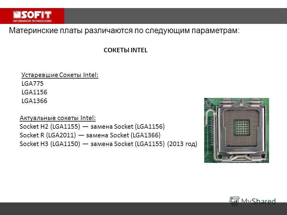 Устаревшие Сокеты Intel: LGA775 LGA1156 LGA1366 Актуальные сокеты Intel: Socket H2 (LGA1155) замена Socket (LGA1156) Socket R (LGA2011) замена Socket (LGA1366) Socket H3 (LGA1150) замена Socket (LGA1155) (2013 год) Материнские платы различаются по сл