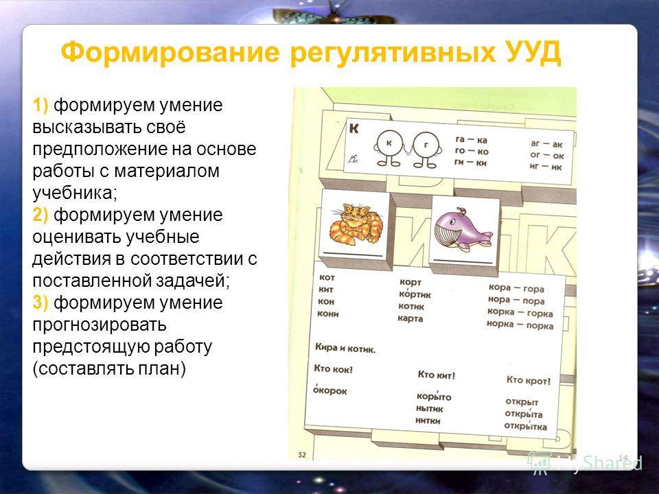 Формирование регулятивных УУД 14 1) формируем умение высказывать своё предположение на основе работы с материалом учебника; 2) формируем умение оценивать учебные действия в соответствии с поставленной задачей; 3) формируем умение прогнозировать предс