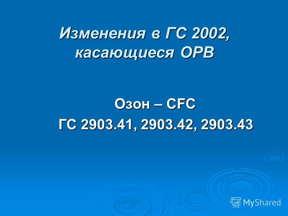 Изменения в ГС 2002, касающиеся ОРВ Озон – CFC Озон – CFC ГС 2903.41, 2903.42, 2903.43 ГС 2903.41, 2903.42, 2903.43