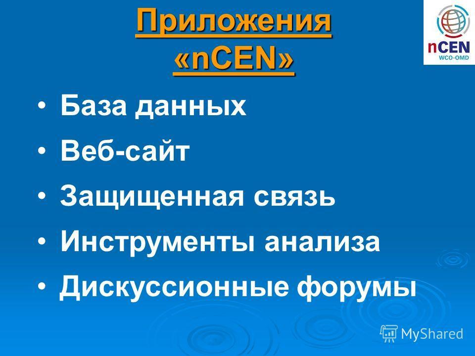 База данных Веб-сайт Защищенная связь Инструменты анализа Дискуссионные форумы Приложения «nCEN»