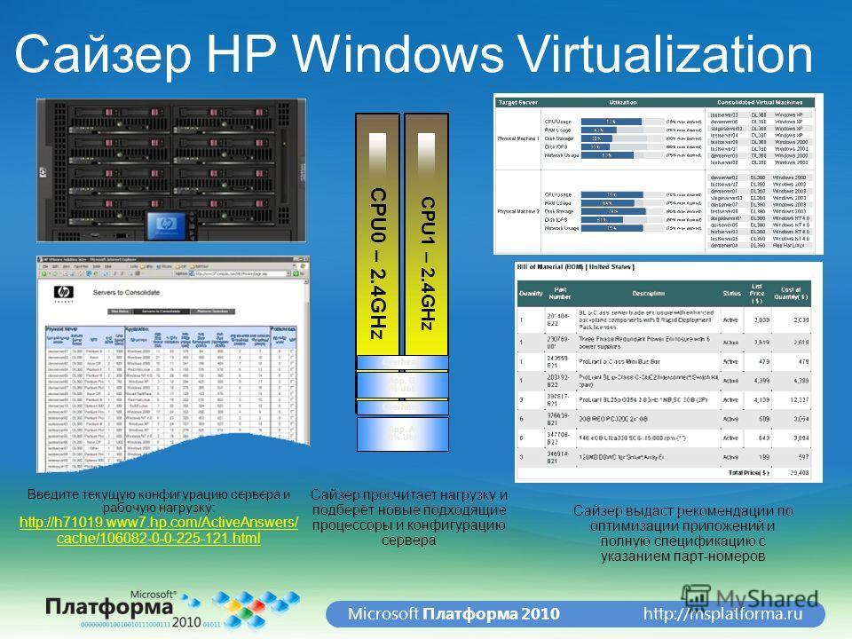 http://msplatforma.ruMicrosoft Платформа 2010 CPU0 – 2.4GHz CPU1 – 2.4GHz App. A 10% Util. Overhead App. B 5% Util. Overhead Введите текущую конфигурацию сервера и рабочую нагрузку: http://h71019.www7.hp.com/ActiveAnswers/ cache/106082-0-0-225-121.ht