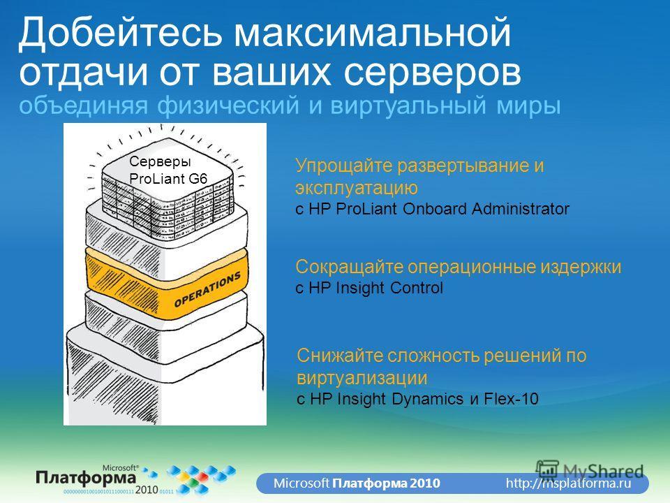 http://msplatforma.ruMicrosoft Платформа 2010 Добейтесь максимальной отдачи от ваших серверов объединяя физический и виртуальный миры Упрощайте развертывание и эксплуатацию с HP ProLiant Onboard Administrator Сокращайте операционные издержки с HP Ins