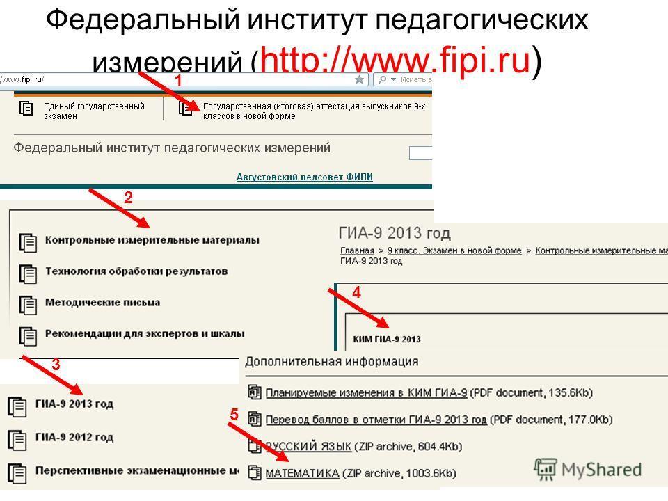 Федеральный институт педагогических измерений ( http://www.fipi.ru) 1 2 3 4 5