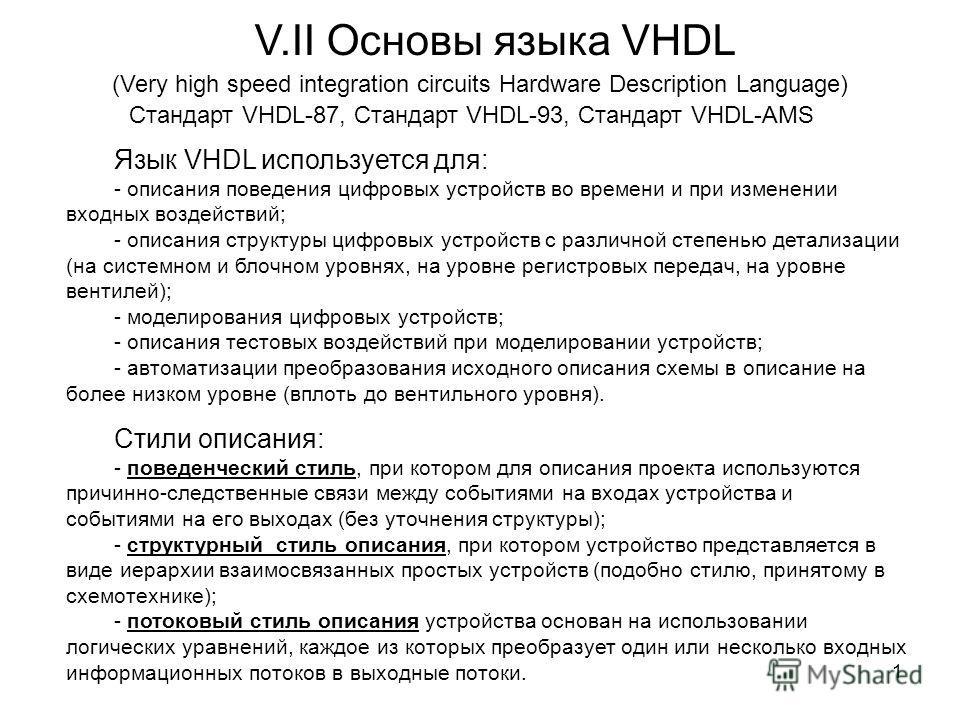 V.II Основы языка VHDL (Very high speed integration circuits Hardware Description Language) Стандарт VHDL-87, Стандарт VHDL-93, Стандарт VHDL-AMS Язык VHDL используется для: - описания поведения цифровых устройств во времени и при изменении входных в