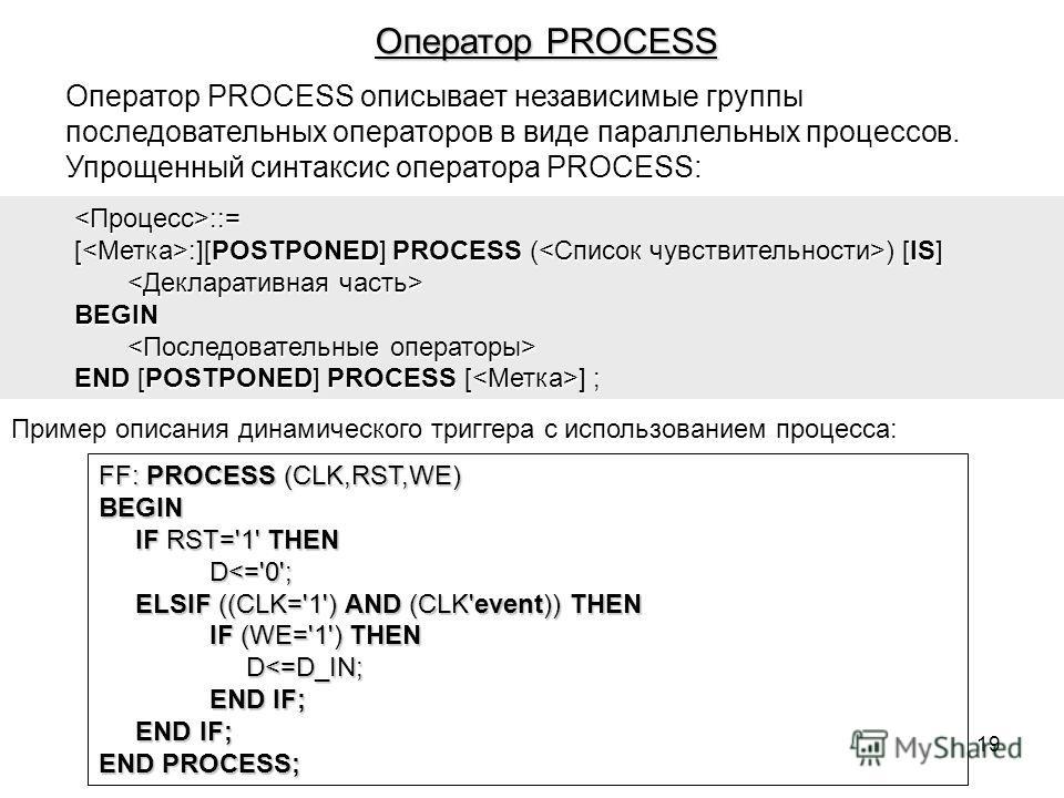 Оператор PROCESS описывает независимые группы последовательных операторов в виде параллельных процессов. Упрощенный синтаксис оператора PROCESS: ::= [ :][POSTPONED] PROCESS ( ) [IS] BEGIN END [POSTPONED] PROCESS [ ] ; Пример описания динамического тр