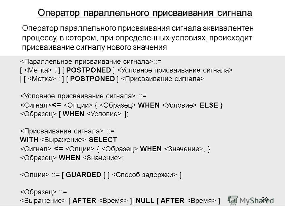 Оператор параллельного присваивания сигнала эквивалентен процессу, в котором, при определенных условиях, происходит присваивание сигналу нового значения ::= ::= [ : ] [ POSTPONED ] [ : ] [ POSTPONED ] | [ : ] [ POSTPONED ] | [ : ] [ POSTPONED ] ::= :