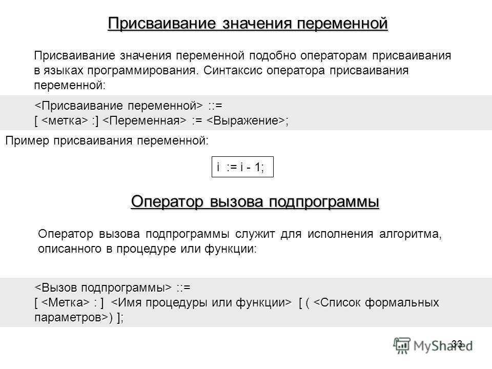 Присваивание значения переменной подобно операторам присваивания в языках программирования. Синтаксис оператора присваивания переменной: ::= ::= [ :] := ; Пример присваивания переменной: i := i - 1; Оператор вызова подпрограммы служит для исполнения