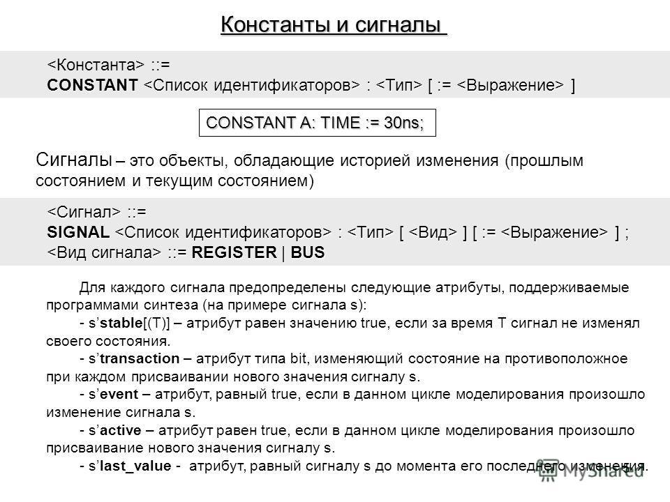 Константы и сигналы ::= CONSTANT : [ := ] CONSTANT A: TIME := 30ns; Сигналы – это объекты, обладающие историей изменения (прошлым состоянием и текущим состоянием) ::= ::= SIGNAL : [ ] [ := ] ; ::= REGISTER | BUS ::= REGISTER | BUS Для каждого сигнала