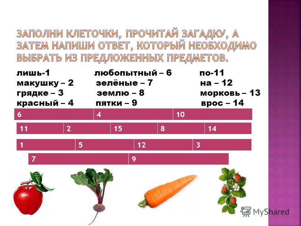 лишь-1 любопытный – 6 по-11 макушку – 2 зелёные – 7 на – 12 грядке – 3 землю – 8 морковь – 13 красный – 4 пятки – 9 врос – 14 Торчат – 5 нос – 10 в - 15 6410 11215814 15123 79