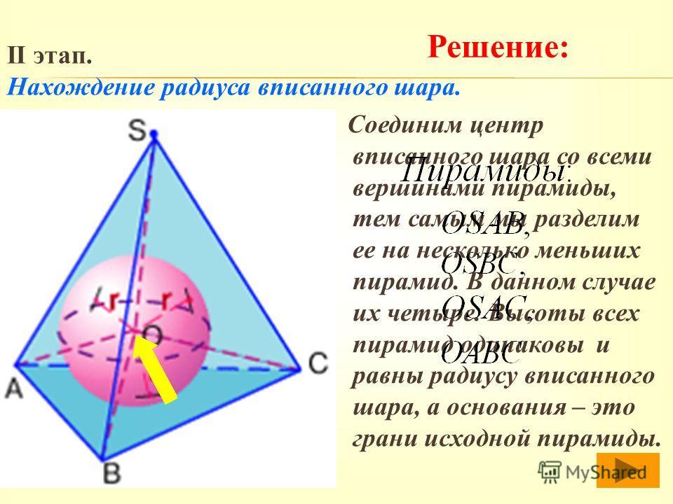 Соединим центр вписанного шара со всеми вершинами пирамиды, тем самым мы разделим ее на несколько меньших пирамид. В данном случае их четыре. Высоты всех пирамид одинаковы и равны радиусу вписанного шара, а основания – это грани исходной пирамиды. Ре