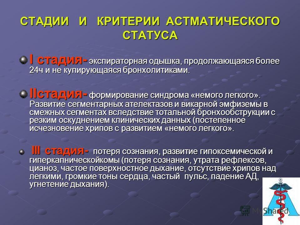 АСТМАТИЧЕСКИЙ СТАТУС АСТМАТИЧЕСКИЙ СТАТУСЭТИОЛОГИЯ: Неправильное медикаментозное лечение бронхиальной астмы (БА). Внезапное прекращение лечения глюкокортикоидами. Острое воспалительное заболевание легких. ПАТОГЕНЕЗ: Блокада бета2-адренорецепторов. Пр