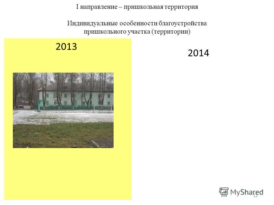 I направление – пришкольная территория Индивидуальные особенности благоустройства пришкольного участка (территории) 2013 2014 12