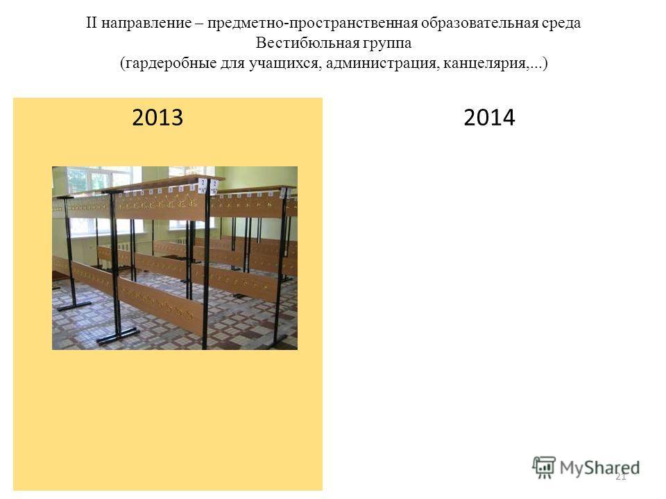 II направление – предметно-пространственная образовательная среда Вестибюльная группа (гардеробные для учащихся, администрация, канцелярия,...) 2014 2013 21
