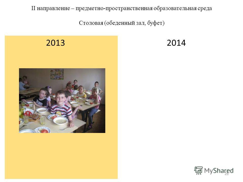 II направление – предметно-пространственная образовательная среда Столовая (обеденный зал, буфет) 2013 2014 26