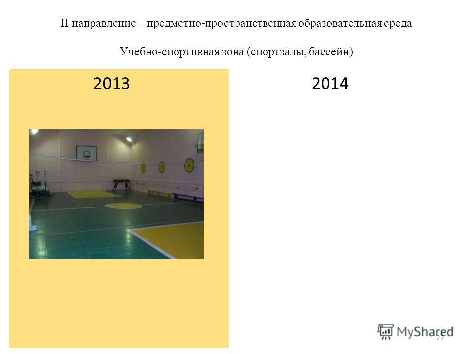 II направление – предметно-пространственная образовательная среда Учебно-спортивная зона (спортзалы, бассейн) 2014 2013 27