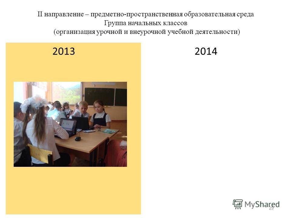 II направление – предметно-пространственная образовательная среда Группа начальных классов (организация урочной и внеурочной учебной деятельности) 2013 2014 29