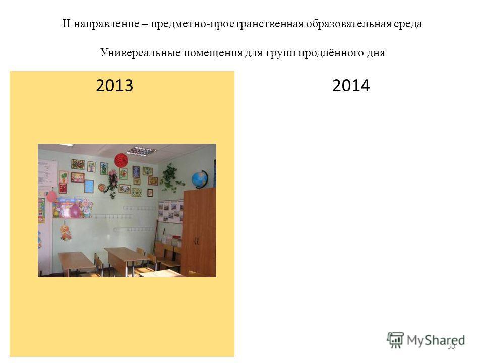 II направление – предметно-пространственная образовательная среда Универсальные помещения для групп продлённого дня 2014 2013 30