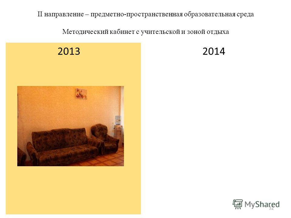 II направление – предметно-пространственная образовательная среда Методический кабинет с учительской и зоной отдыха 2014 2013 32