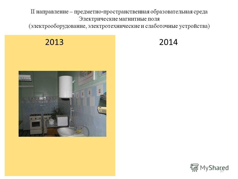 II направление – предметно-пространственная образовательная среда Электрические магнитные поля (электрооборудование, электротехнические и слаботочные устройства) 2014 2013 37