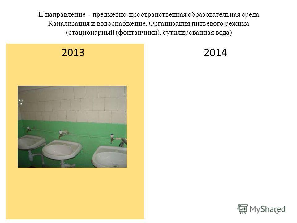II направление – предметно-пространственная образовательная среда Канализация и водоснабжение. Организация питьевого режима (стационарный (фонтанчики), бутилированная вода) 2014 2013 38
