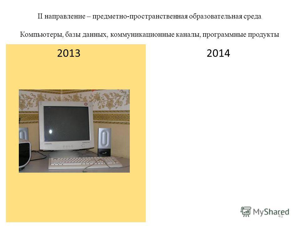 II направление – предметно-пространственная образовательная среда Компьютеры, базы данных, коммуникационные каналы, программные продукты 2014 2013 41