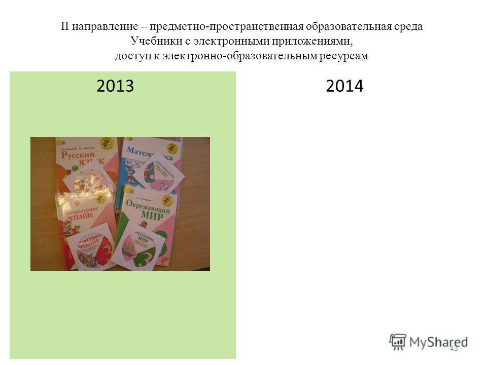 II направление – предметно-пространственная образовательная среда Учебники с электронными приложениями, доступ к электронно-образовательным ресурсам 2014 2013 43