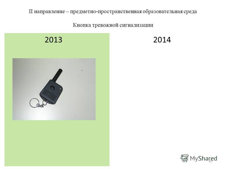 II направление – предметно-пространственная образовательная среда Кнопка тревожной сигнализации 2014 2013 47
