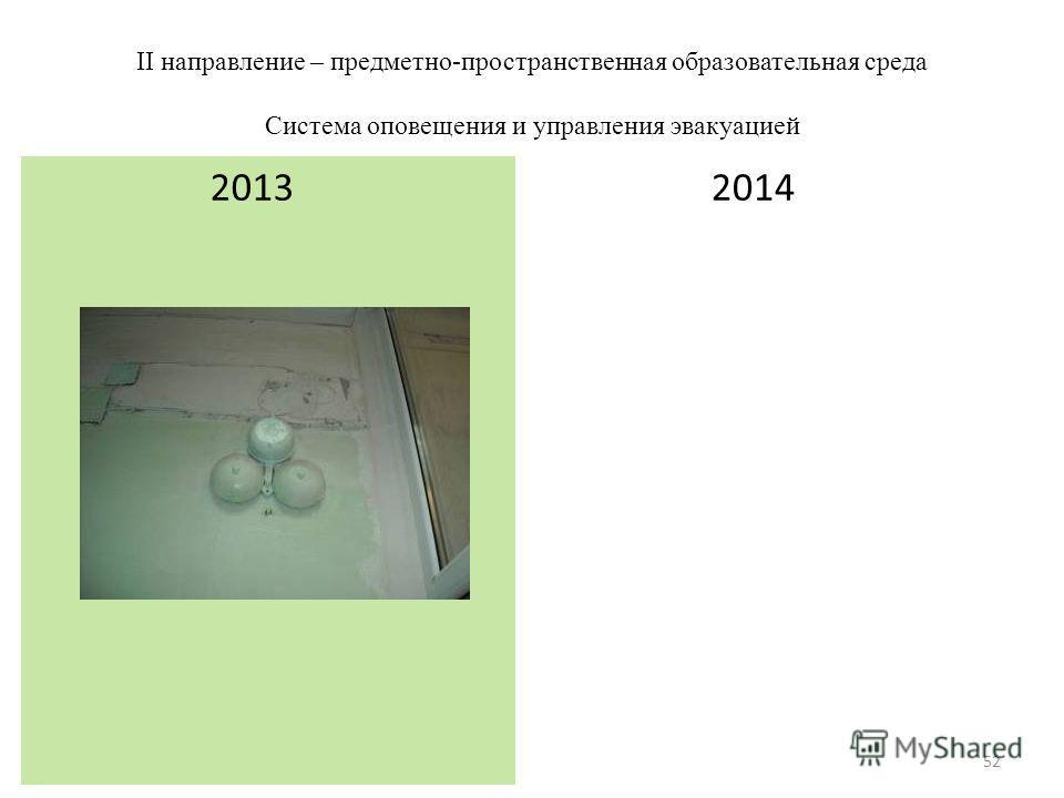 II направление – предметно-пространственная образовательная среда Система оповещения и управления эвакуацией 2014 2013 52