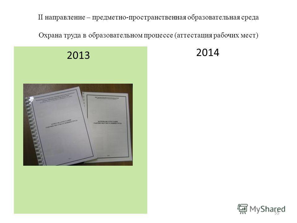 II направление – предметно-пространственная образовательная среда Охрана труда в образовательном процессе (аттестация рабочих мест) 2014 2013 55