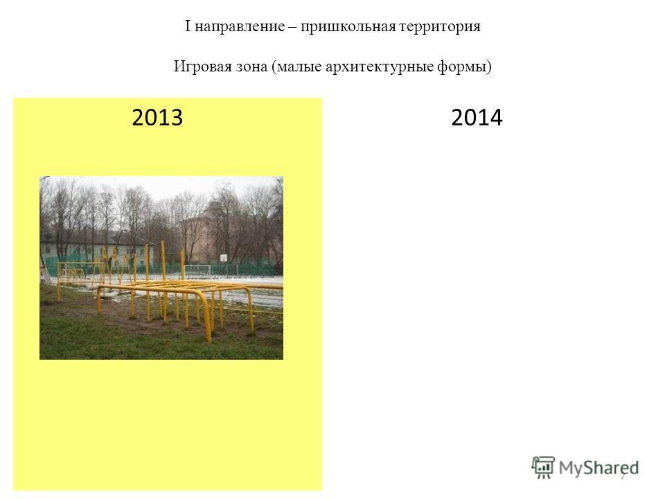 I направление – пришкольная территория Игровая зона (малые архитектурные формы) 2014 2013 7