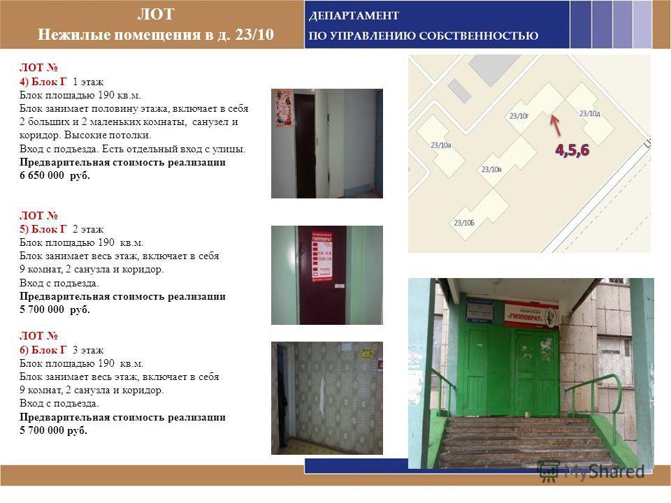 ЛОТ Нежилые помещения в д. 23/10 ЛОТ 4) Блок Г 1 этаж Блок площадью 190 кв.м. Блок занимает половину этажа, включает в себя 2 больших и 2 маленьких комнаты, санузел и коридор. Высокие потолки. Вход с подъезда. Есть отдельный вход с улицы. Предварител