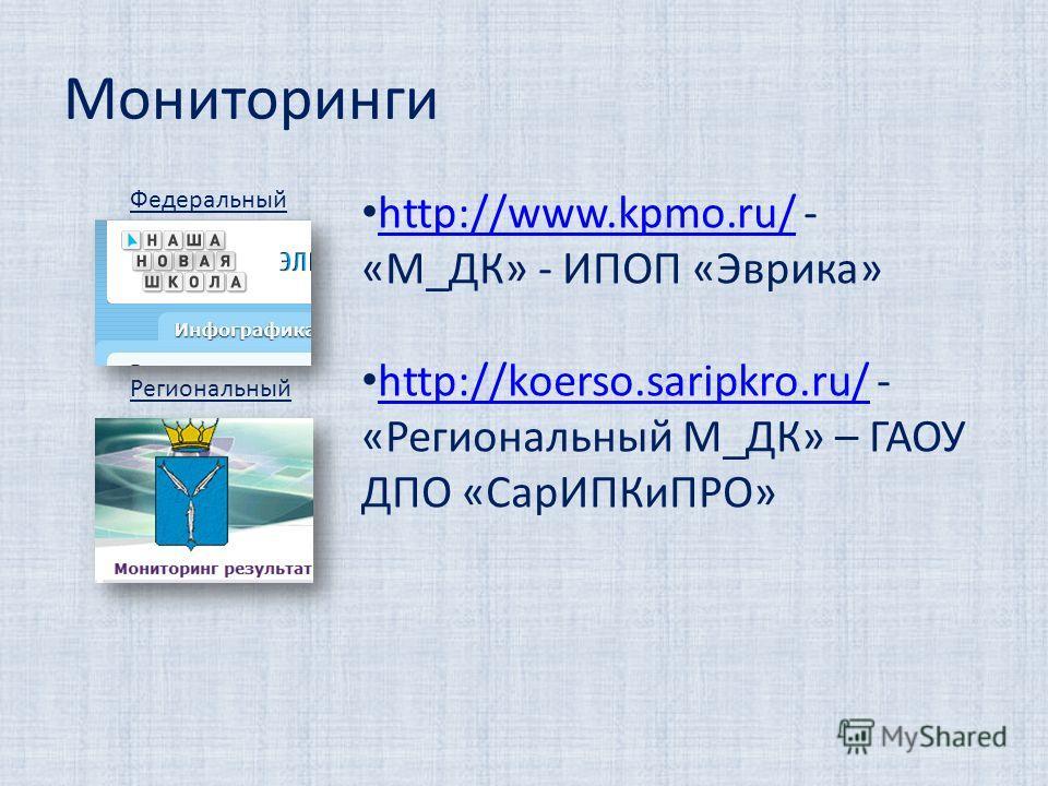 Мониторинги http://www.kpmo.ru/ - «М_ДК» - ИПОП «Эврика» http://www.kpmo.ru/ http://koerso.saripkro.ru/ - «Региональный М_ДК» – ГАОУ ДПО «СарИПКиПРО» http://koerso.saripkro.ru/ Федеральный Региональный