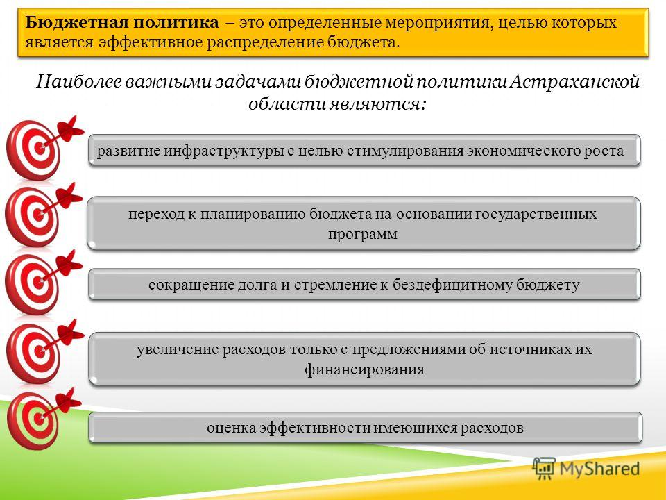 Бюджетная политика – это определенные мероприятия, целью которых является эффективное распределение бюджета. Наиболее важными задачами бюджетной политики Астраханской области являются: сокращение долга и стремление к бездефицитному бюджету переход к