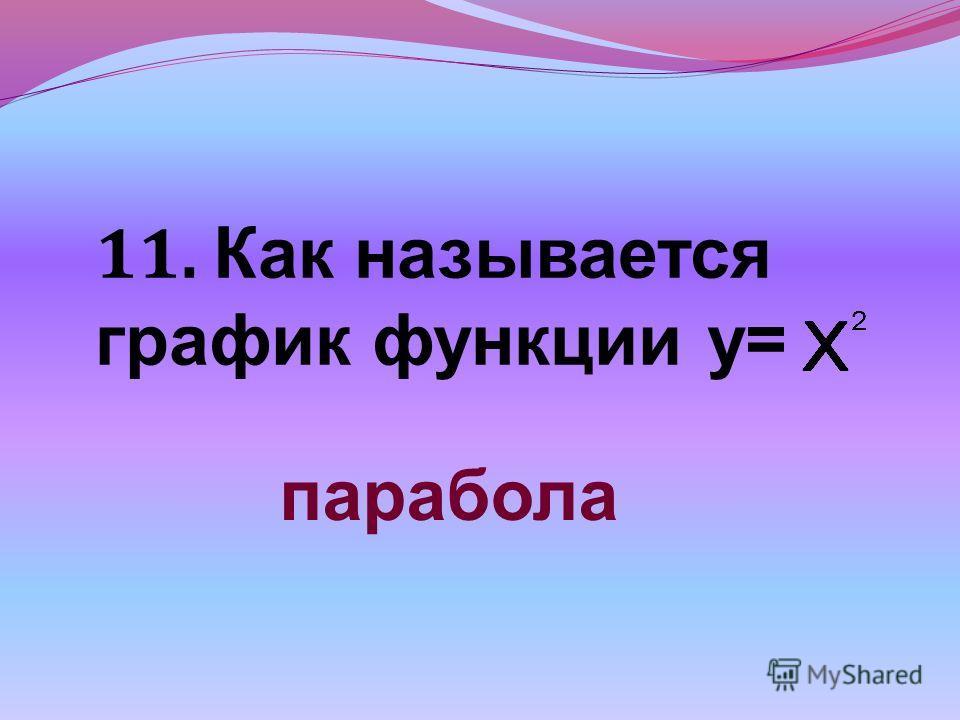 11. Как называется график функции у= парабола