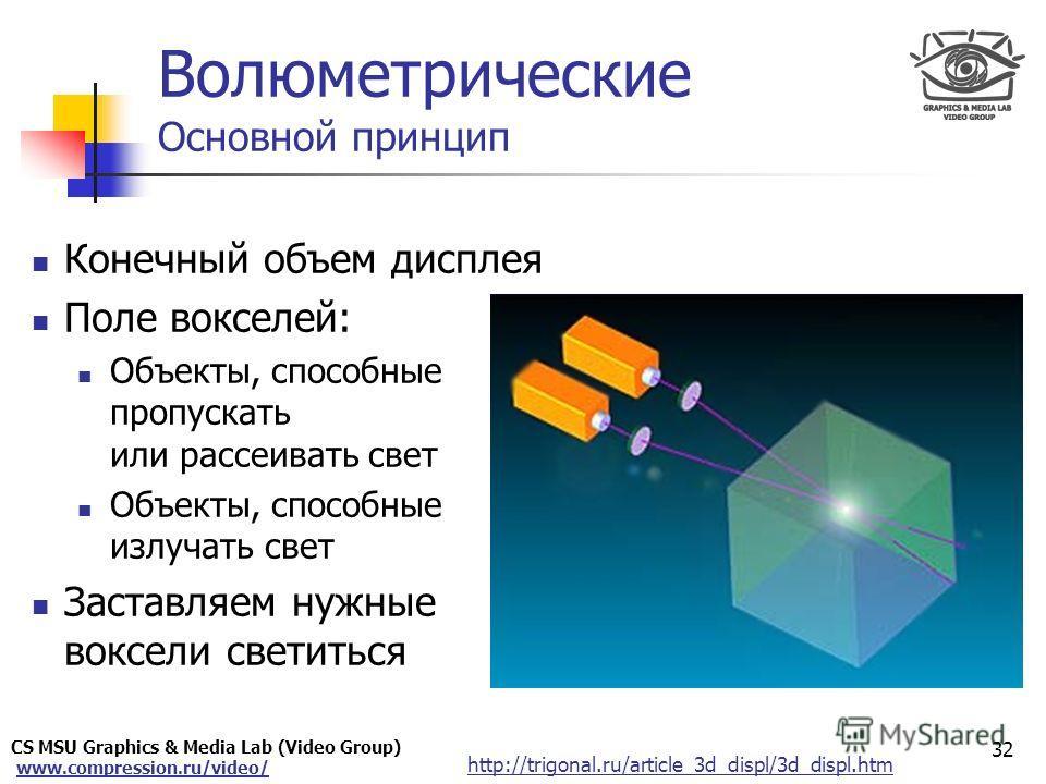 CS MSU Graphics & Media Lab (Video Group) www.compression.ru/video/ Only for Maxus Конечный объем дисплея Поле вокселей: Объекты, способные пропускать или рассеивать свет Объекты, способные излучать свет Заставляем нужные воксели светиться 32 Волюмет